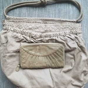Tan wallet and matching bag